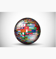 Flags of all countries in the form of 3D spheres vector image vector image