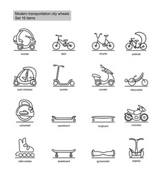 linear modern city transport icons set vector image vector image