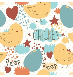 The cute little chicken seamless pattern vector image