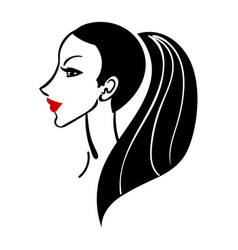 women long hair style icon vector image