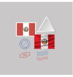 A set stamps with image flag peru vector