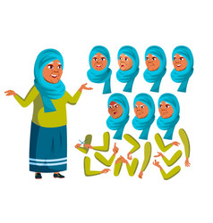 Arab muslim old woman senior person aged vector
