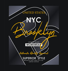 athletic nyc brooklyn typography design vector image