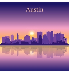Austin silhouette on sunset background vector