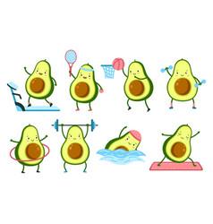 Avocado fitness cartoon food gym healthy fruits vector