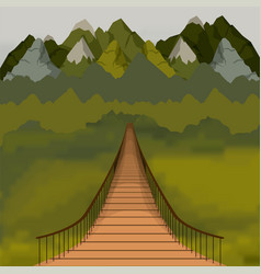 Background outside suspension bridge and forest vector