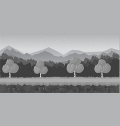 Black and white cartoon forest game background vector