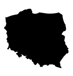 Black silhouette country borders map of poland on vector
