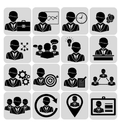 Business and management icons black vector image