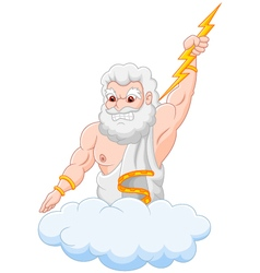 Cartoon zeus holding thunderbolt vector image