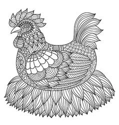 Chicken coloring book vector
