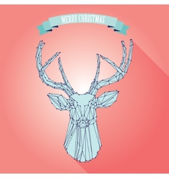 Christmas deer on pink background vector image