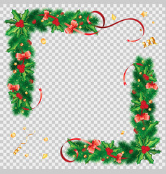 christmas frame with fir branches vector image