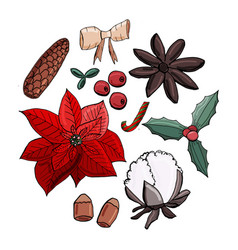 christmas set of elements vector image