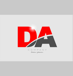 Combination letter da d a in grey red color vector