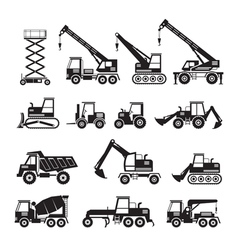 Construction Vehicles Objects Silhouette Set vector