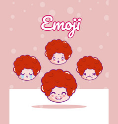 Cute boys emojis vector
