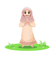 Cute muslim girl standing and greeting salaam vector