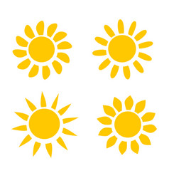 different yellow sun icons on white background vector image