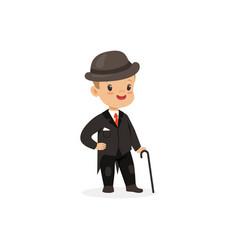 elegant little boy in black suit with walking vector image