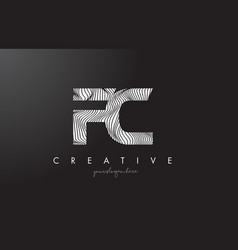 Fc f c letter logo with zebra lines texture vector
