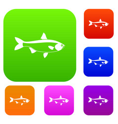 Fish set collection vector