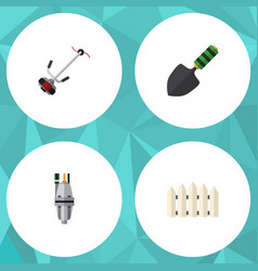 Flat icon dacha set of grass-cutter wooden vector