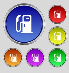 Fuel icon sign Round symbol on bright colourful vector