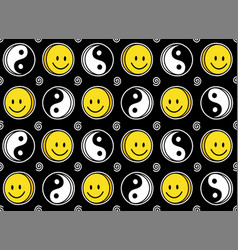 Funny smile cute face and yin yang seamless vector