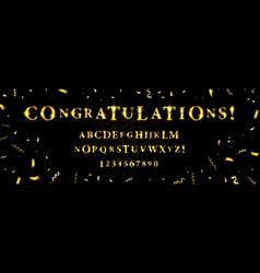 golden glitter font on black background vector image