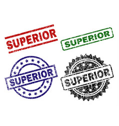 Grunge textured superior stamp seals vector