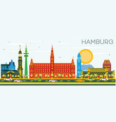 Hamburg skyline with color buildings and blue sky vector