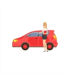 Happy self-made business lady with her red car in vector