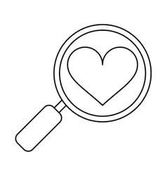 heart love loupe search icon outline vector image