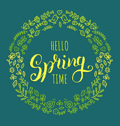 hello spring time lettering inspirational vector image