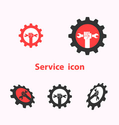 human hand icon and wrench with gear logo design vector image