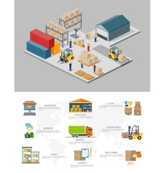 icon 3d isometric process warehouse vector image