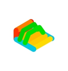 Inflatable trampoline isometric 3d icon vector