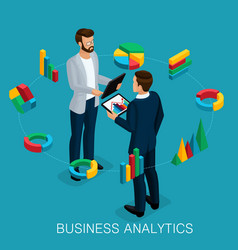 Isometric business analyst businessman vector