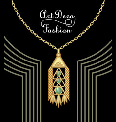 luxury art deco filigree pendant jewel with green vector image