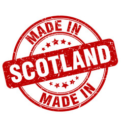 Made in scotland red grunge round stamp vector