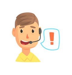 Male call center worker and speech bubble with vector