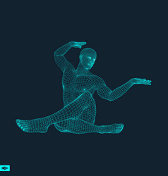 Man doing yoga workout 3d model man training grid vector