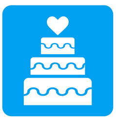 Marriage cake rounded square icon vector