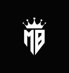 mb logo monogram emblem style with crown shape vector image