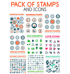mega pack of stamps and technology web icons vector image