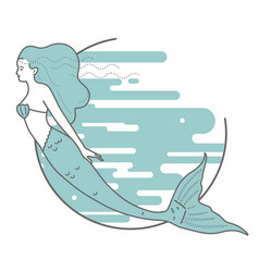 Mermaid on the background of water vector