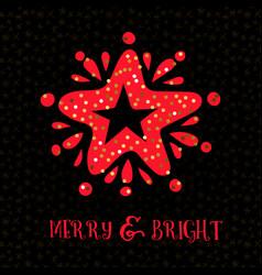 Merry bright xmas greeting card vector