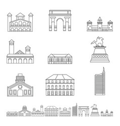 Milan italy city skyline icons set outline style vector