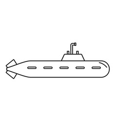 military submarine icon outline style vector image
